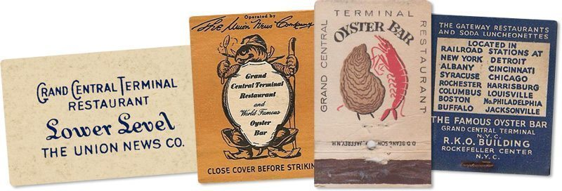 Sugar and Matchbooks from the Grand Central Terminal Oyster Bar. 1920's to 1950's. Source: I Ride the Harlem Line