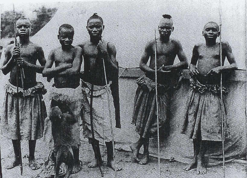 Benga (second from left) and the Batwa in St. Louis. Image: The South Carolina Library, University of South Carolina, Colimbia, S.C. in The Pygmy in the Zoo
