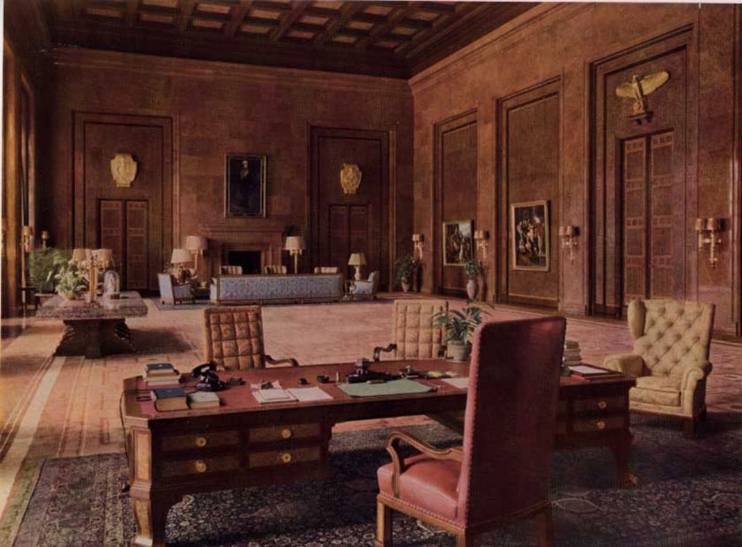Hitler's massive office in the Chancellery, Berlin, Germany