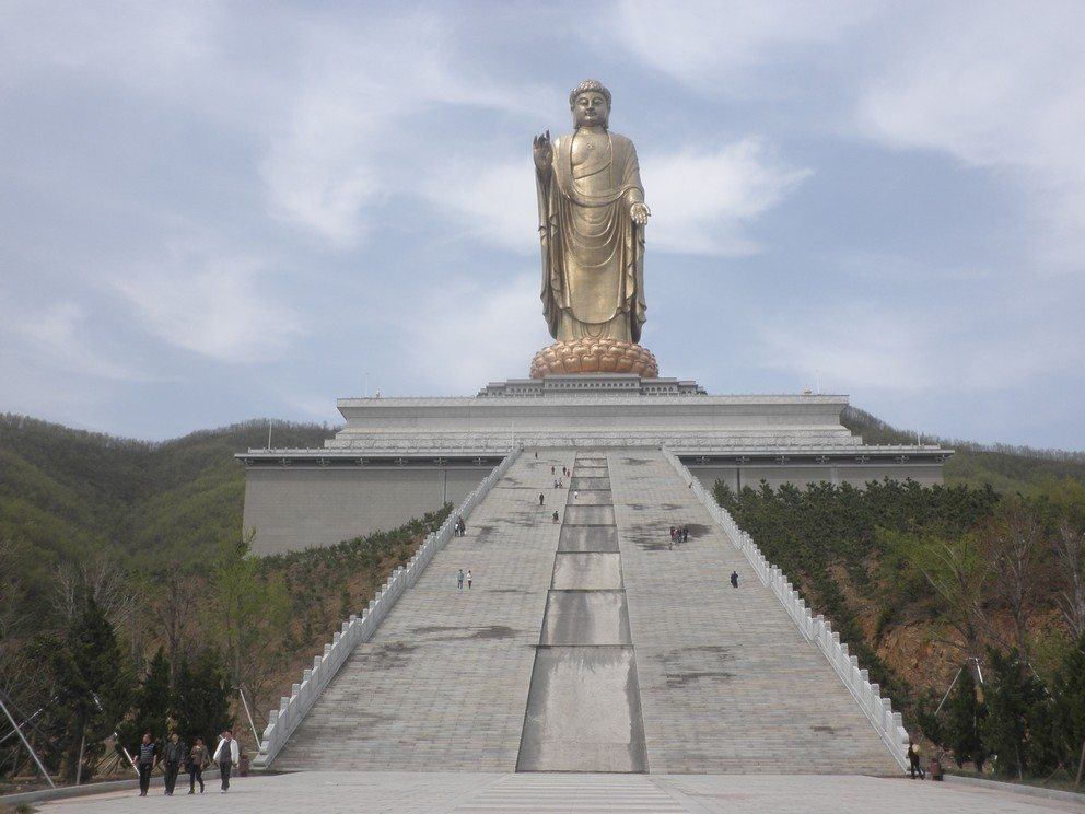 The World's Tallest Statue of Spring Temple Buddha at 153 m (503 ft) tall in the Zhaocun township of Lushan County, Henan, China.
