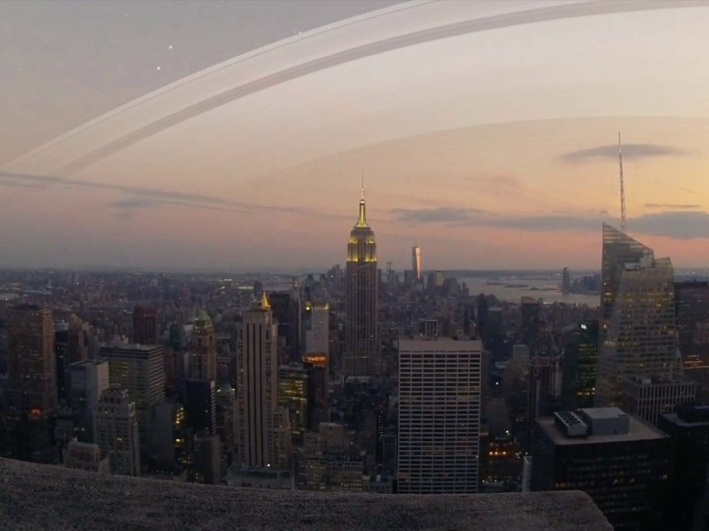 New York's sees the rings high above the horizon.