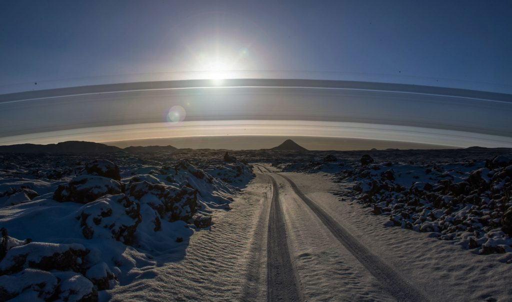 Iceland is near the arctic circle (65 Degrees North) so the rings are far, far south. You would only see them on the horizon.