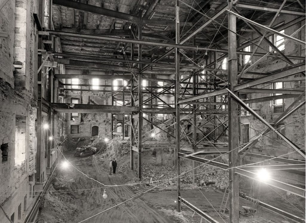 Photos of a White House gut renovation shell circa 1950 Circa 1950: The inside of the White House, after being gutted to accomplish the renovation. Iron beams hold up the original walls of the White House, which were not replaced. -- National Archives