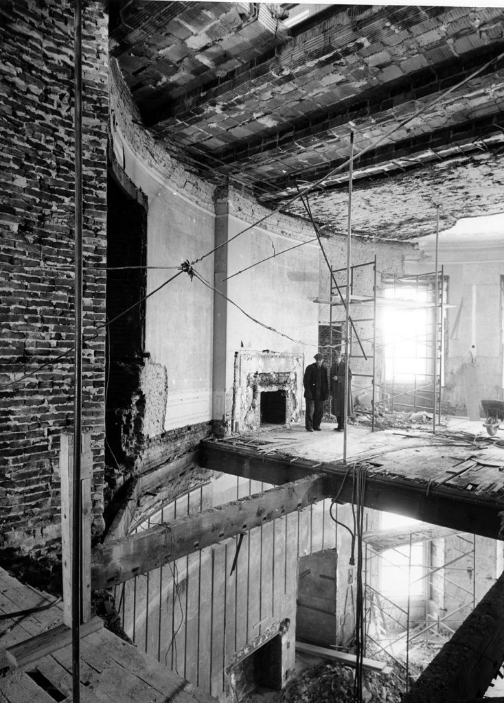 More details Demolition of the Second Floor Oval Study and the Blue Room below, March 1950