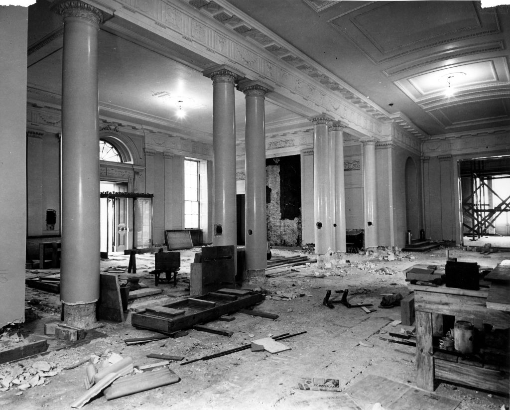 White House Lobby during the renovation December 1949.