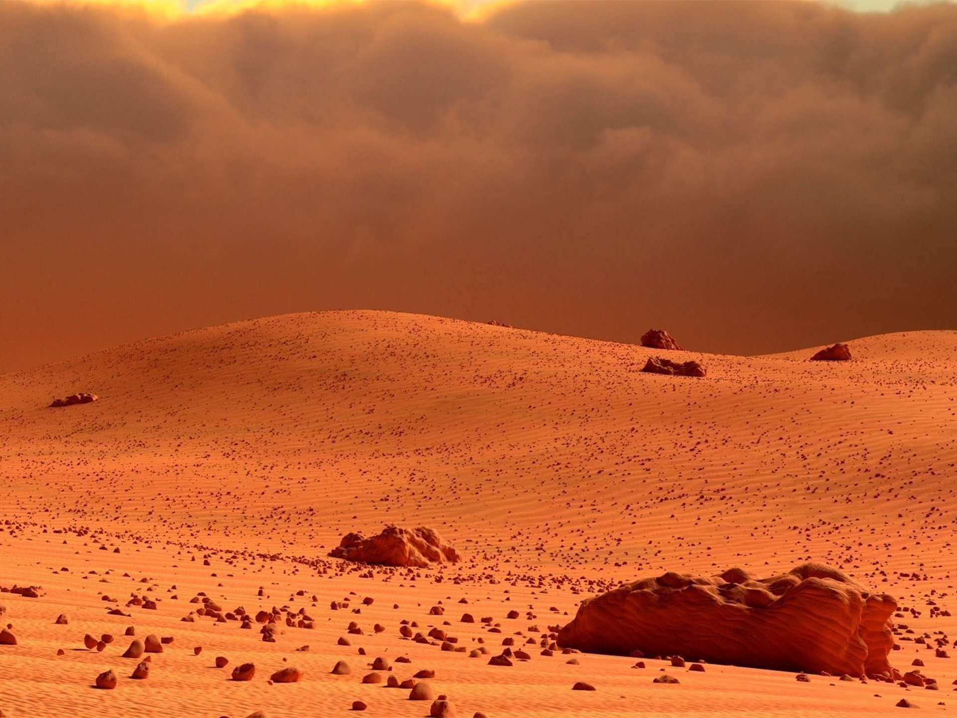 The surface of the planet Mars appears reddish from a distance because of rusty dust suspended in the atmosphere From closeup it looks more of a butterscotch and