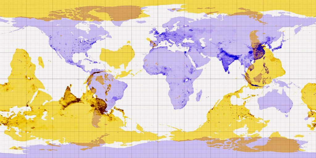 Antipode map of the world